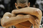 Tim Duncan Two Arms Around Ball